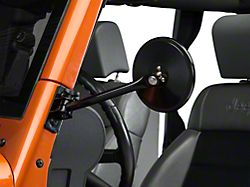 Rugged Ridge Quick Release Round Mirror; Black (97-18 Jeep Wrangler TJ & JK)