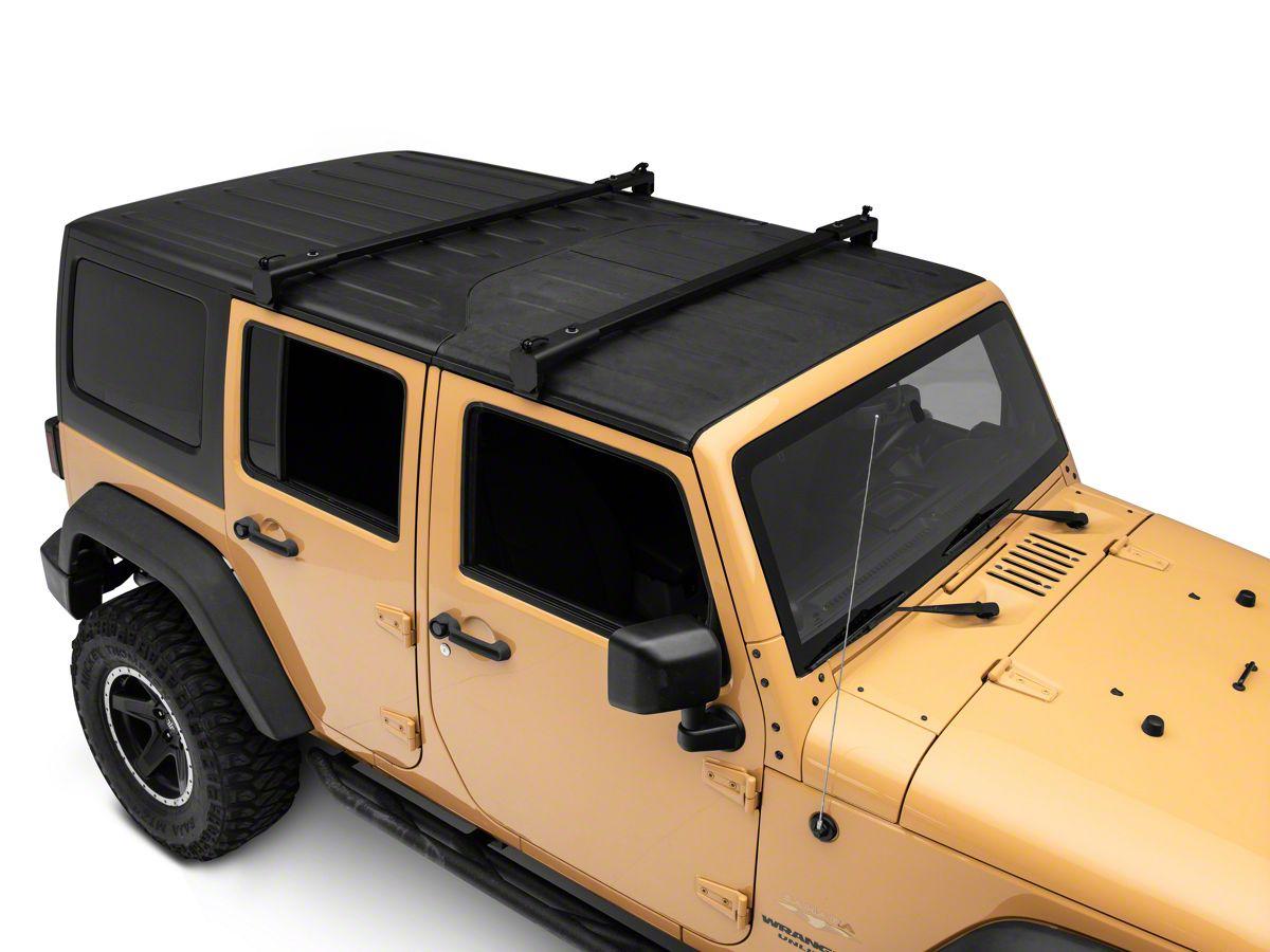 barricade two bar removable roof rack 07 18 jeep wrangler jk 4 door
