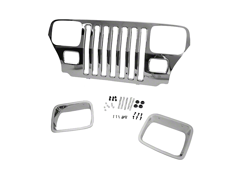 Mopar Grille Overlay - Chrome (87-95 Jeep Wrangler YJ)