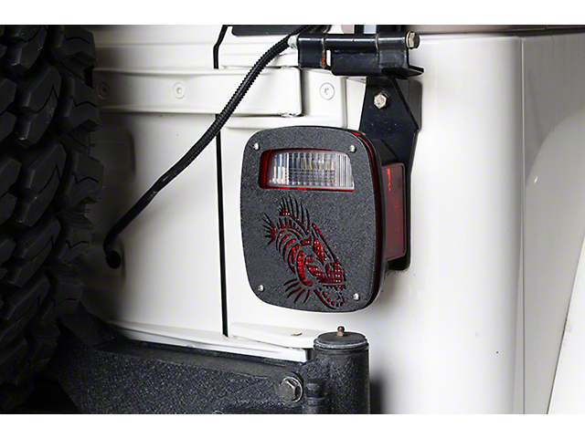 Fishbone Offroad Tail Light Covers; Textured Black (87-06 Jeep Wrangler YJ & TJ)