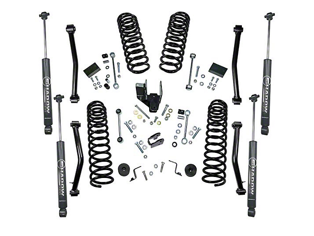 SuperLift 4 Inch Dual Rate Coil Spring Suspension Lift Kit w/ Shadow Series Shocks (18-20 Jeep Wrangler JL 2 Door)