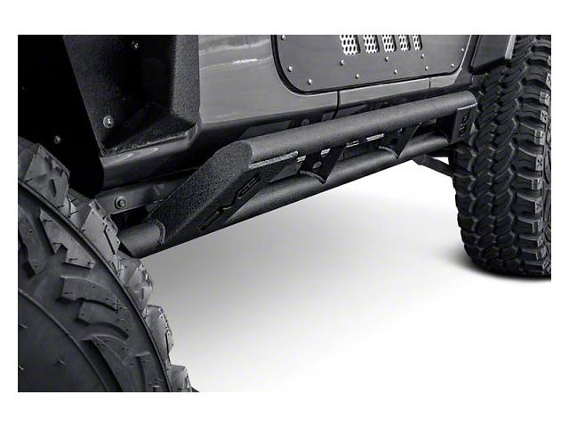 DV8 Offroad Tubular Rock Sliders; Black (18-21 Jeep Wrangler JL 2 Door)