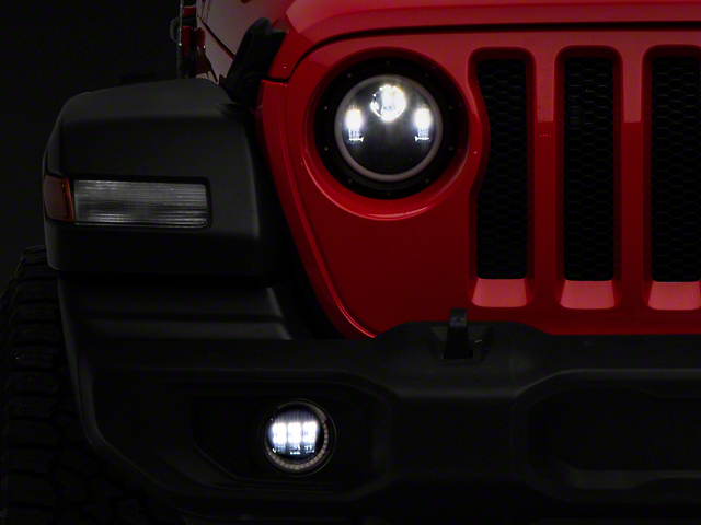 Quake LED Tempest 9-Inch HD Headlights and 4-Inch Fog Lights; Black Housing; Clear Lens (20-21 Jeep Gladiator JT)