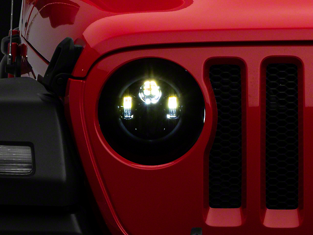 9 in. LED Headlights w/ White DRL Halo & Amber Turn Signals (18-20 Jeep Wrangler JL)