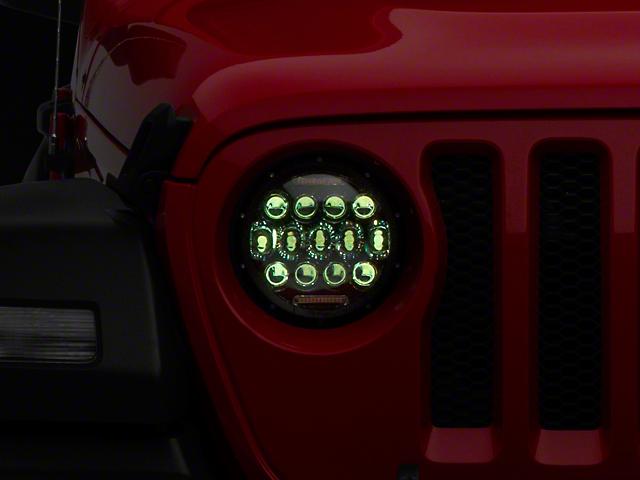 Quake LED Tempest 9-Inch RGB Headlights; Black Housing; Clear Lens (20-21 Jeep Gladiator JT)