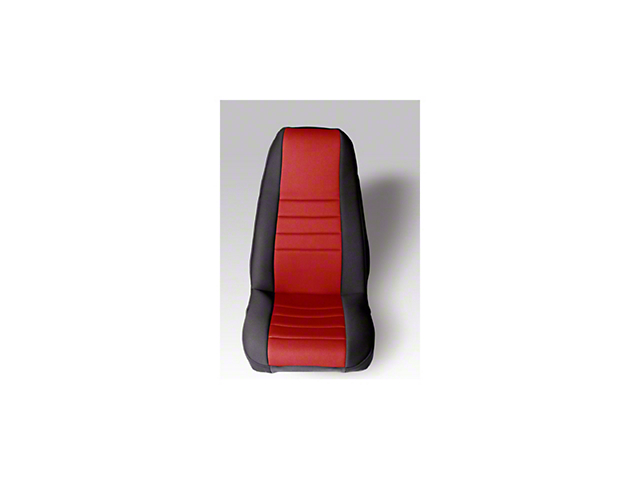 Rugged Ridge Neoprene Front Seat Covers; Black/Red (87-90 Jeep Wrangler YJ)