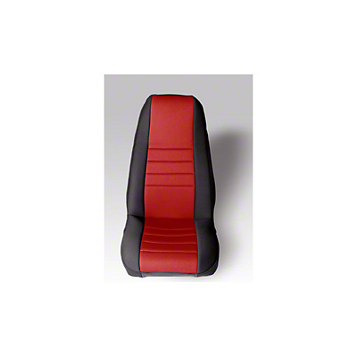 Rugged Ridge Neoprene Front Seat Covers Pair - Red/Black (87-90 Jeep Wrangler YJ)