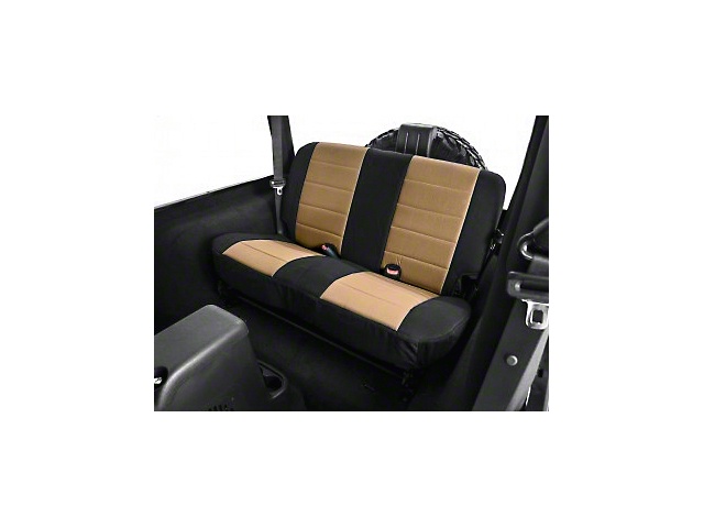 Rugged Ridge Neoprene Rear Seat Cover; Black/Tan (03-06 Jeep Wrangler TJ)
