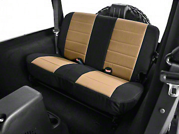 Rugged Ridge Neoprene Rear Seat Cover - Tan/Black (03-06 Jeep Wrangler TJ)