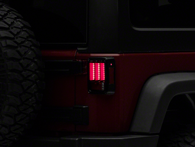 Version 2 Light Bar Sequential LED Tail Lights; Red Clear (07-18 Jeep Wrangler JK)