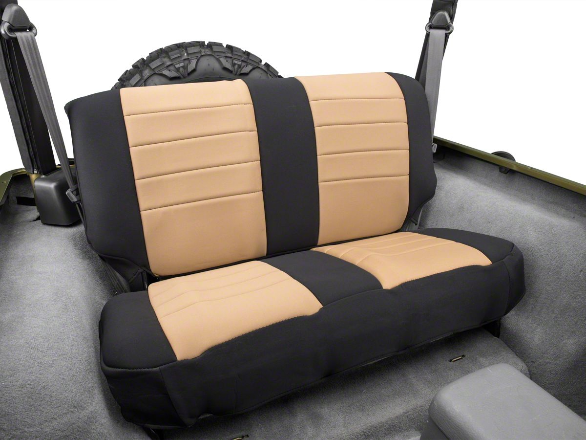 Peachy Rugged Ridge Neoprene Rear Seat Cover Tan Black 97 02 Jeep Wrangler Tj Dailytribune Chair Design For Home Dailytribuneorg