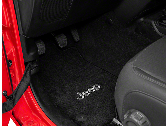 Lloyd All-Weather Carpet Front and Rear Floor Mats with Jeep Logo; Black (18-21 Jeep Wrangler JL 4 Door)