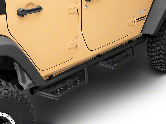 N-Fab Cab Length RS Nerf Side Step Bars; Textured Black (07-18 Jeep Wrangler JK 4 Door)