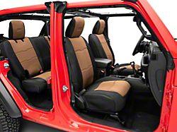 Smittybilt GEN2 Neoprene Front and Rear Seat Covers; Black/Tan (18-20 Jeep Wrangler JL 4 Door)