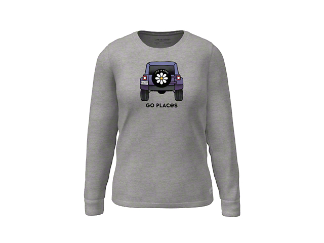 Life is Good Women's Go Places Vehicle Long Sleeve Shirt; Heather Gray