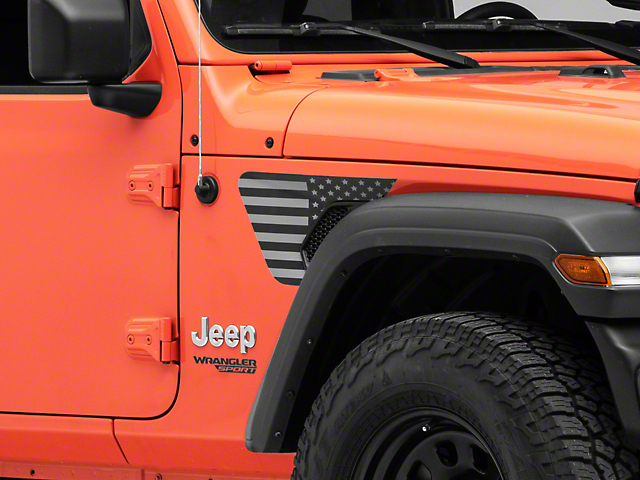Under the Sun Fender Vent Decals; Blackout (18-21 Jeep Wrangler JL)