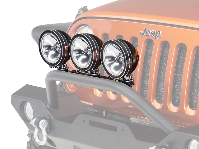 Rugged Ridge 6 in. Halogen Fog Lights - Black - Set of Three (87-18 Wrangler YJ, TJ, JK & JL)