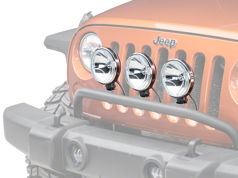Rugged Ridge 6 in. Slim Halogen Fog Lights - Stainless Steel - Set of Three (87-18 Jeep Wrangler YJ, TJ, JK & JL)