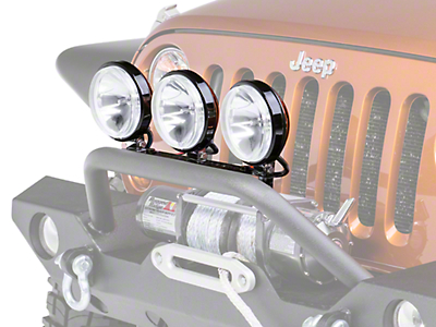 Rugged Ridge 6 in. Slim Halogen Fog Lights - Black - Set of Three (87-18 Wrangler YJ, TJ, JK & JL)