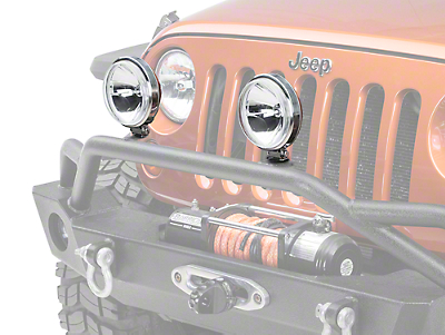 Rugged Ridge 6 in. Slim Round Halogen Fog Light - Stainless Steel - Single (87-17 Wrangler YJ, TJ & JK)