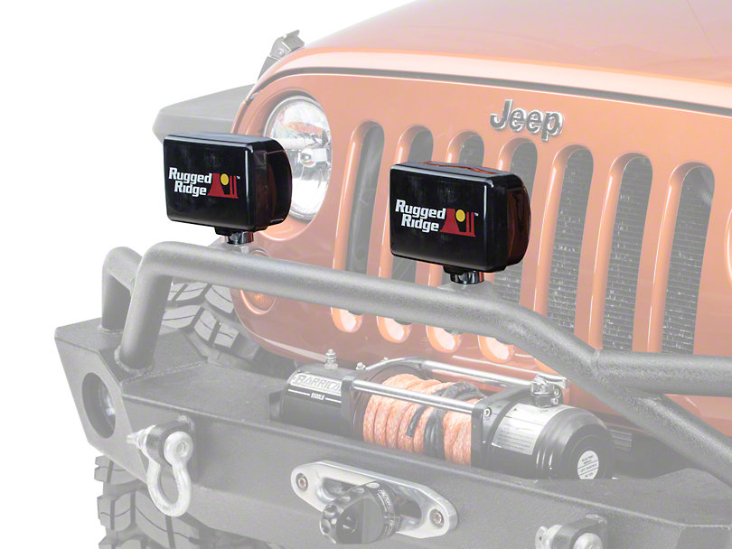 Rugged Ridge 5x7 in. Off-Road Light Cover - Black (87-19 Jeep Wrangler YJ, TJ, JK & JL)