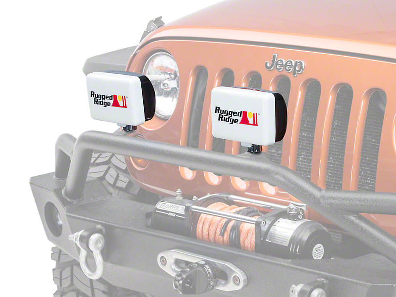 Rugged Ridge 5x7 in. Off-Road Light Cover - White (87-18 Wrangler YJ, TJ, JK & JL)