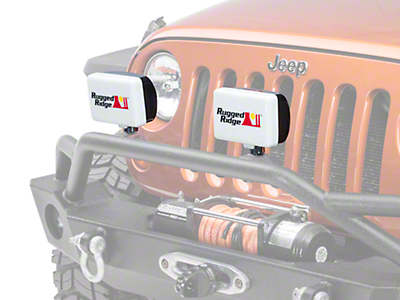 Rugged Ridge 5x7 in. Off-Road Light Cover - White (87-17 Wrangler YJ, TJ & JK)