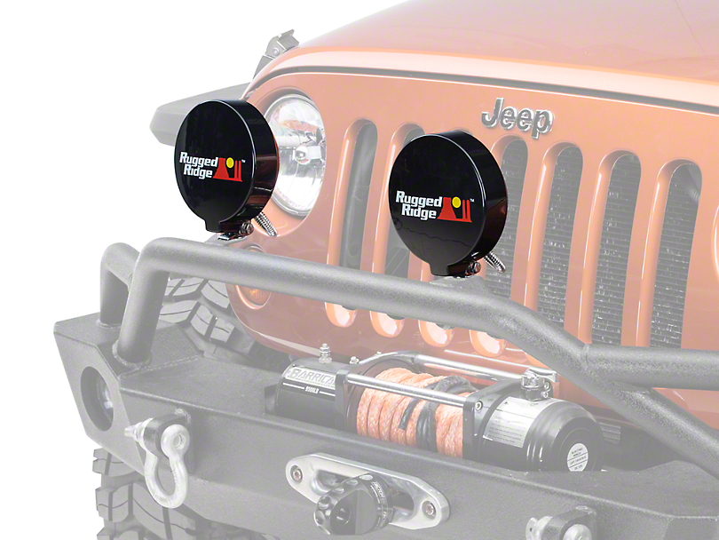 Rugged Ridge 6 in. Slim Off-Road Light Cover - Black (87-18 Wrangler YJ, TJ, JK & JL)