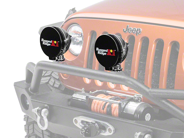 Rugged Ridge 6 in. Off-Road Light Cover - Black (87-19 Jeep Wrangler YJ, TJ, JK & JL)