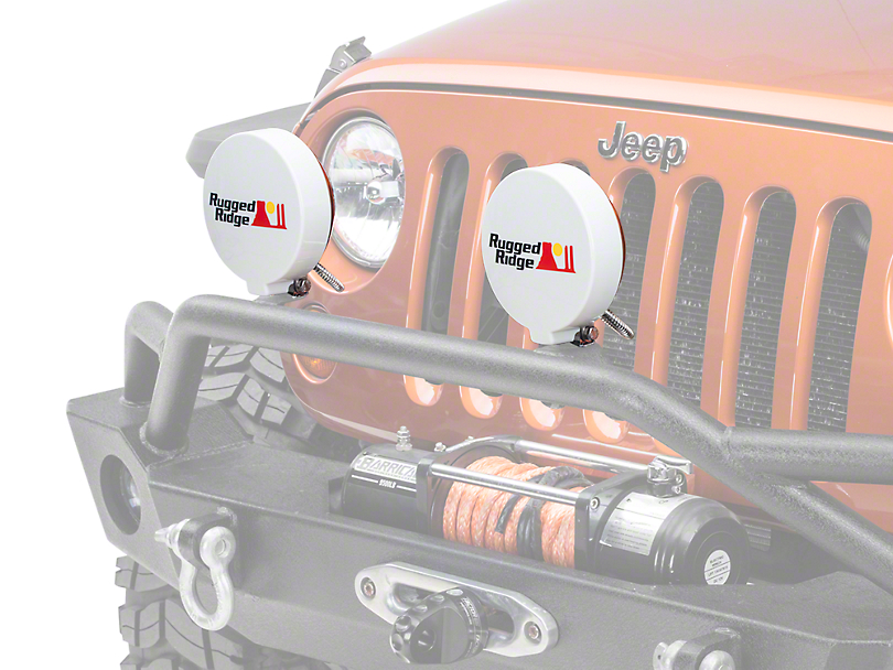 Rugged Ridge 6 in. Slim Off-Road Light Cover - White (87-18 Wrangler YJ, TJ & JK)