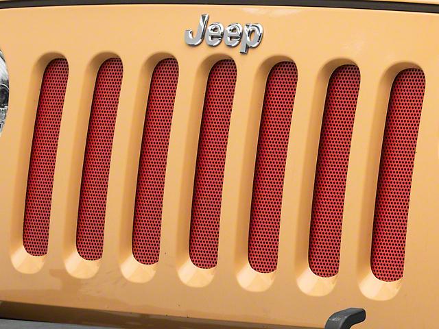 RedRock 4x4 Aluminim Grille Mesh Insert; Red (07-18 Jeep Wrangler JK)