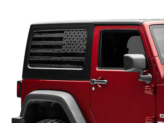 SEC10 Distressed Flag Hard Top Window Decal; Matte Black (07-18 Jeep Wrangler JK 2 Door)