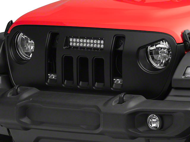 Deegan 38 Grille with 10-Inch LED Light Bar and DRL (18-21 Jeep Wrangler JL)