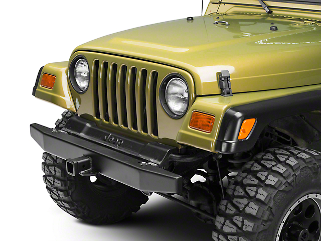 Olympic 4x4 50 in. Front Rock Bumper w/ Hitch - Textured Black (87-06 Jeep Wrangler YJ & TJ)