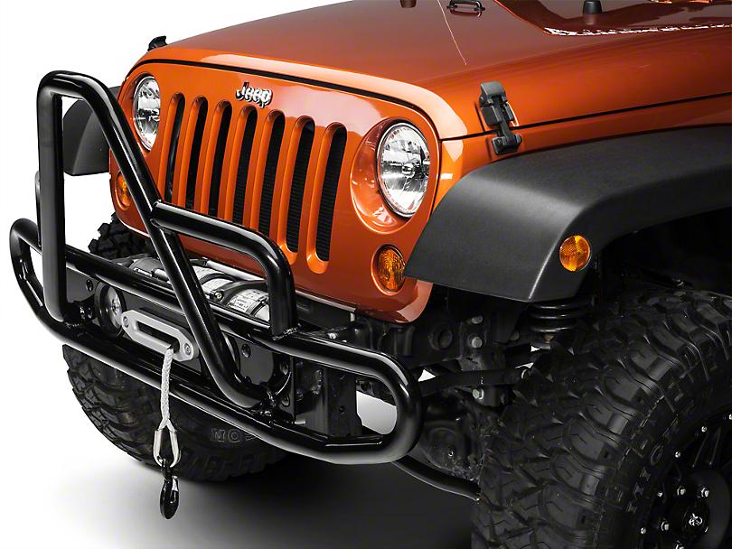 Olympic 4x4 Three Hoop Front Bumper - Textured Black (07-09 Jeep Wrangler JK)