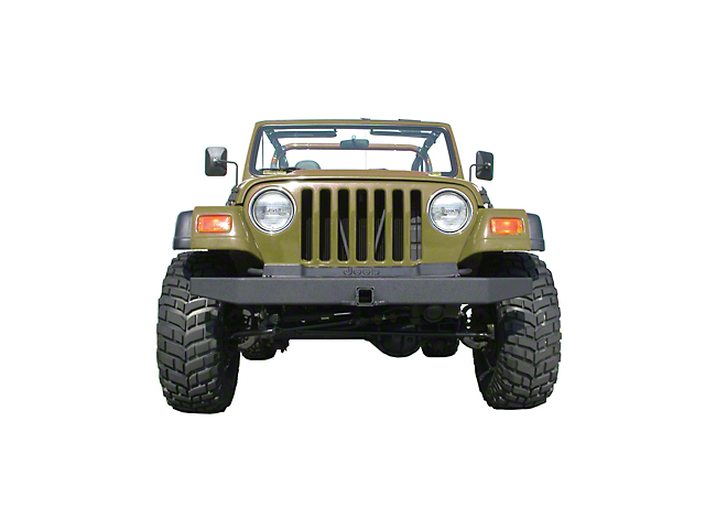 Olympic 4x4 57 in. Front Rock Bumper w/ Hitch - Textured Black (87-06 Wrangler YJ & TJ)