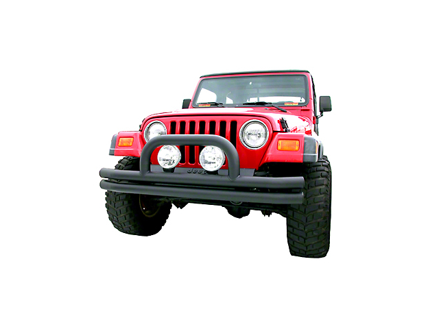 Olympic 4x4 Double Tube Front Bumper w/ Hoop - Textured Black (87-95 Jeep Wrangler YJ)