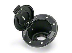 DV8 Offroad Billet Non-Locking Fuel Door with DV8 Logo; Black (07-18 Jeep Wrangler JK)