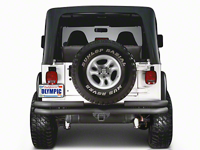 Olympic 4x4 Double Tube Rear Bumper w/ Hitch - Textured Black (97-06 Wrangler TJ)