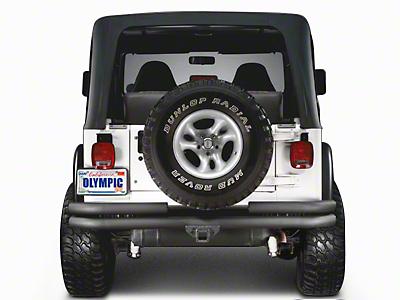Olympic 4x4 Double Tube Rear Bumper w/ Hitch - Textured Black (97-06 Jeep Wrangler TJ)