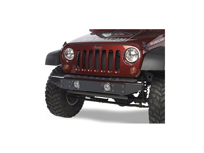 Olympic 4x4 Front Rock Bumper - Rubicon Black (07-18 Jeep Wrangler JK)