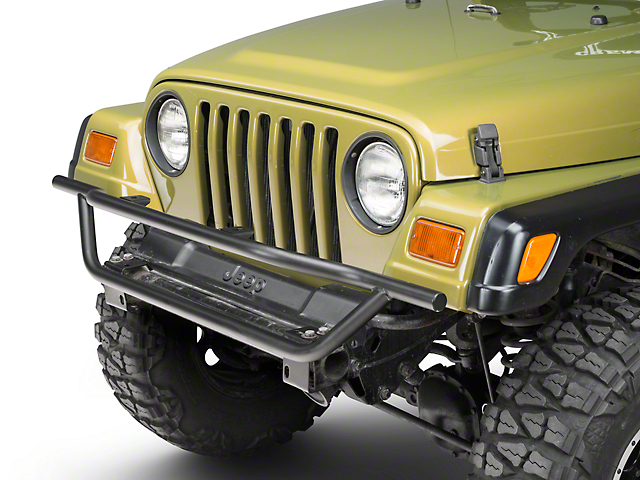 Olympic 4x4 A/T Rock Slider Front Bumper - Textured Black (97-06 Jeep Wrangler TJ)