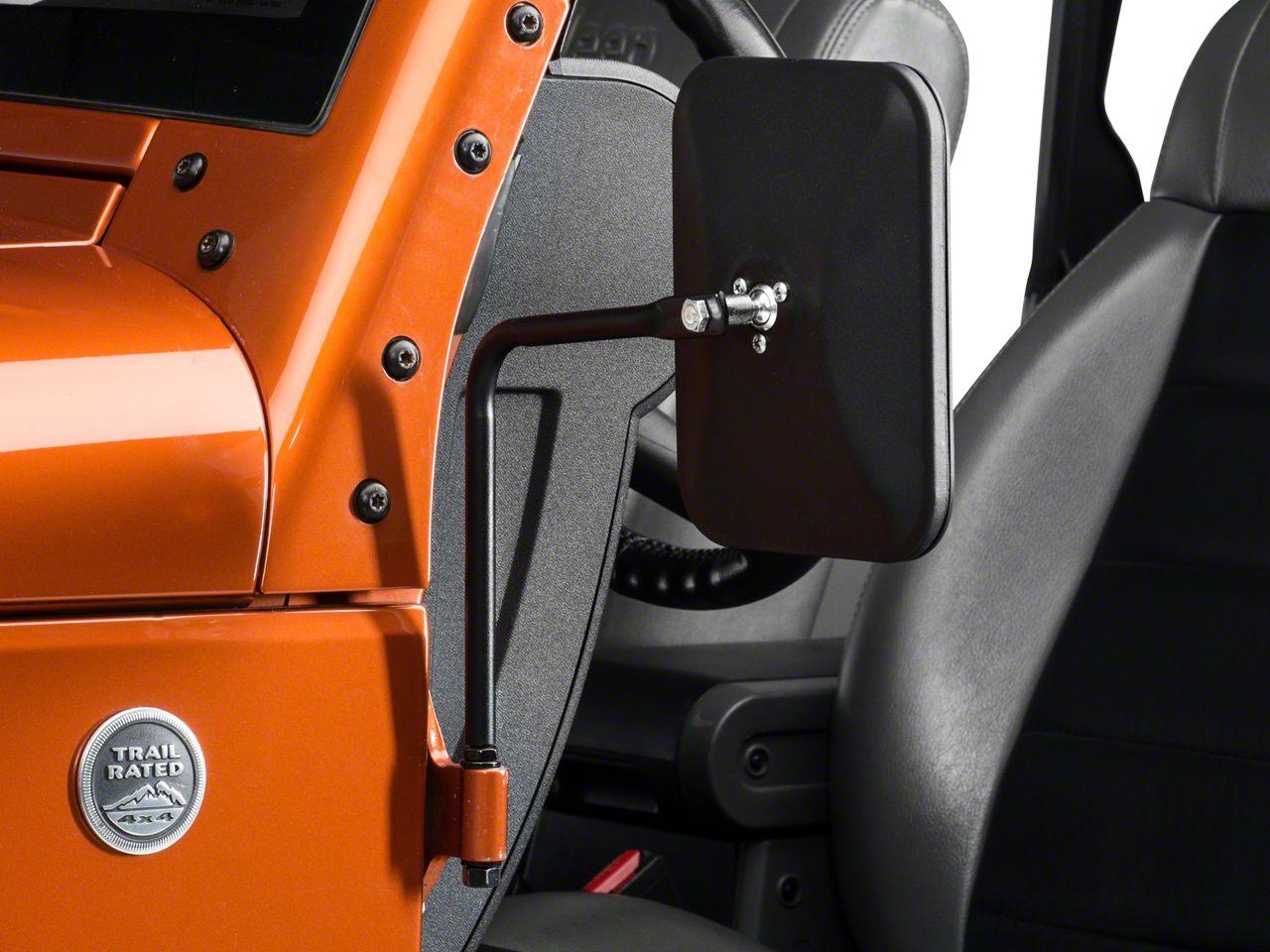 Olympic 4x4 Safari Mirrors - Textured Black (87-19 Jeep Wrangler YJ, TJ, JK & JL)