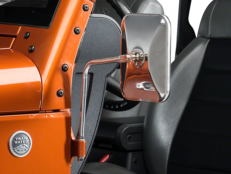 Olympic 4x4 Safari Mirrors - Stainless Steel (87-18 Jeep Wrangler YJ, TJ, JK & JL)