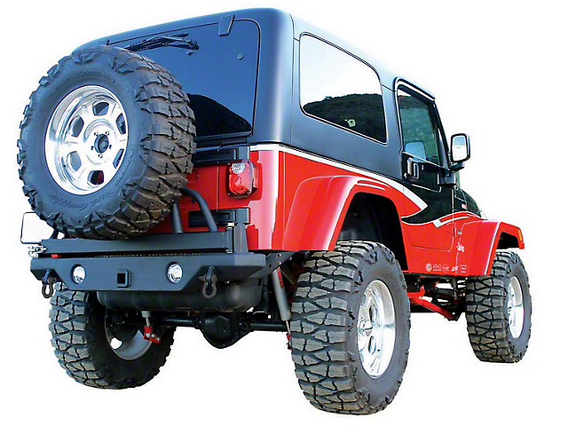 Recovery HD Rear Bumper with Swing Away Tire Mount; Textured Black (87-06 Jeep Wrangler YJ & TJ)