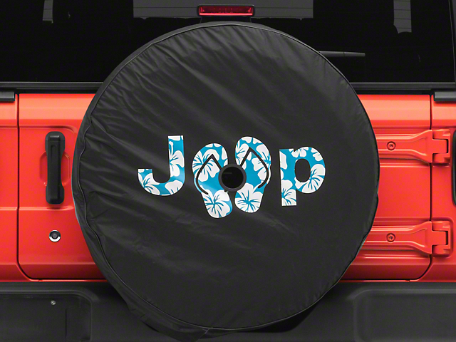 Jeep Aloha Sandals Spare Tire Cover with Camera Port; Black (18-21 Jeep Wrangler JL)