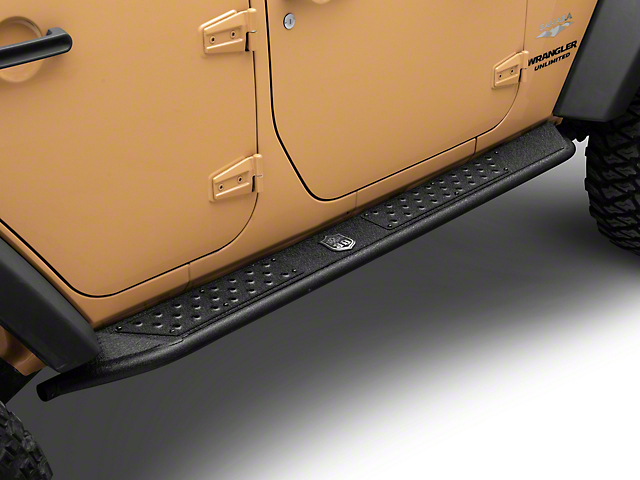 Deegan 38 Rock Sliders; Textured Black (07-18 Jeep Wrangler JK 4 Door)