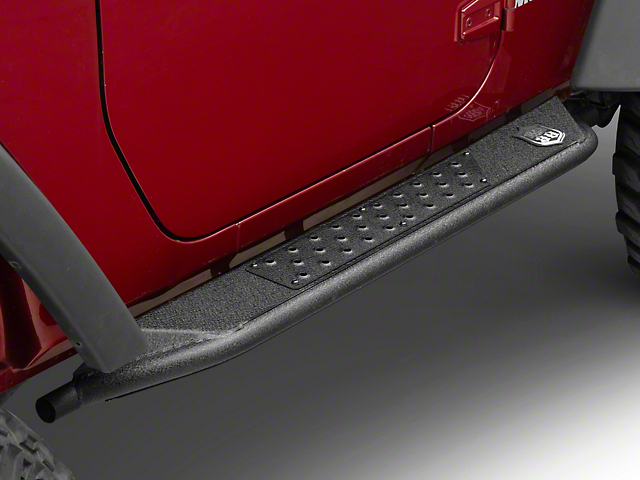 Deegan 38 Rock Sliders; Textured Black (07-18 Jeep Wrangler JK 2 Door)