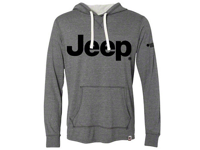 Men's Jeep Logo Long Sleeve Champion Hoodie; Gray