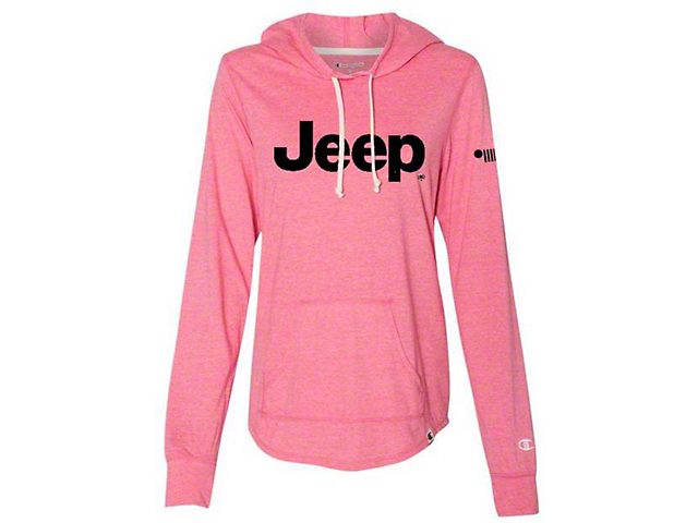 Women's Jeep Logo Long Sleeve Champion Hoodie; Pink